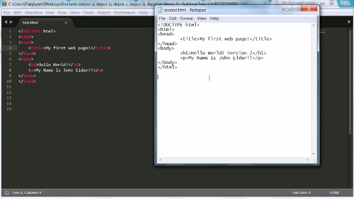 a screenshot of coding in the notepad app