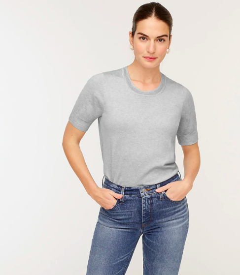 Model wearing the J.Crew short-sleeve crewneck sweater in silk-blend