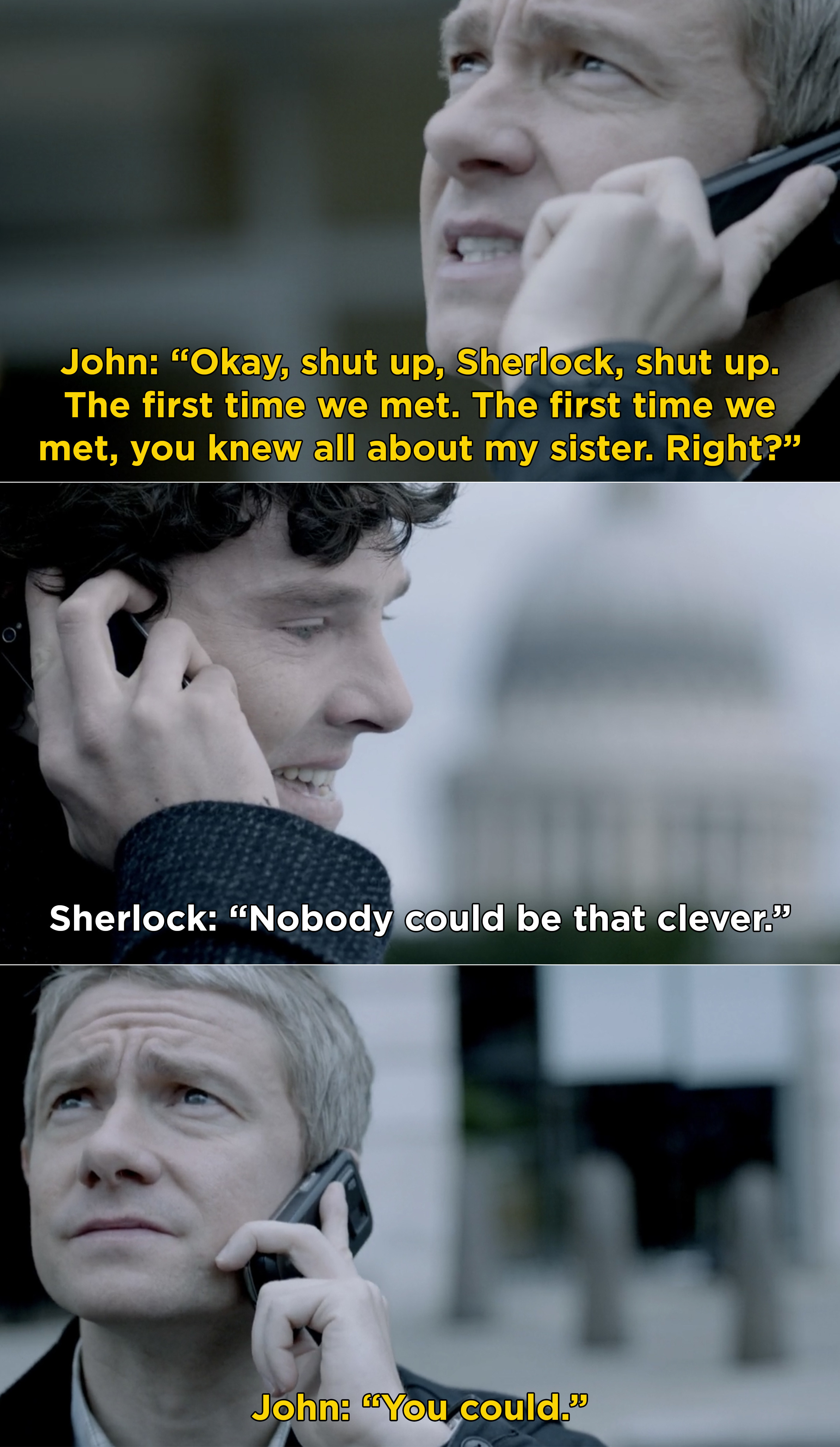 Sherlock and John talking while Sherlock is on the ledge of a building