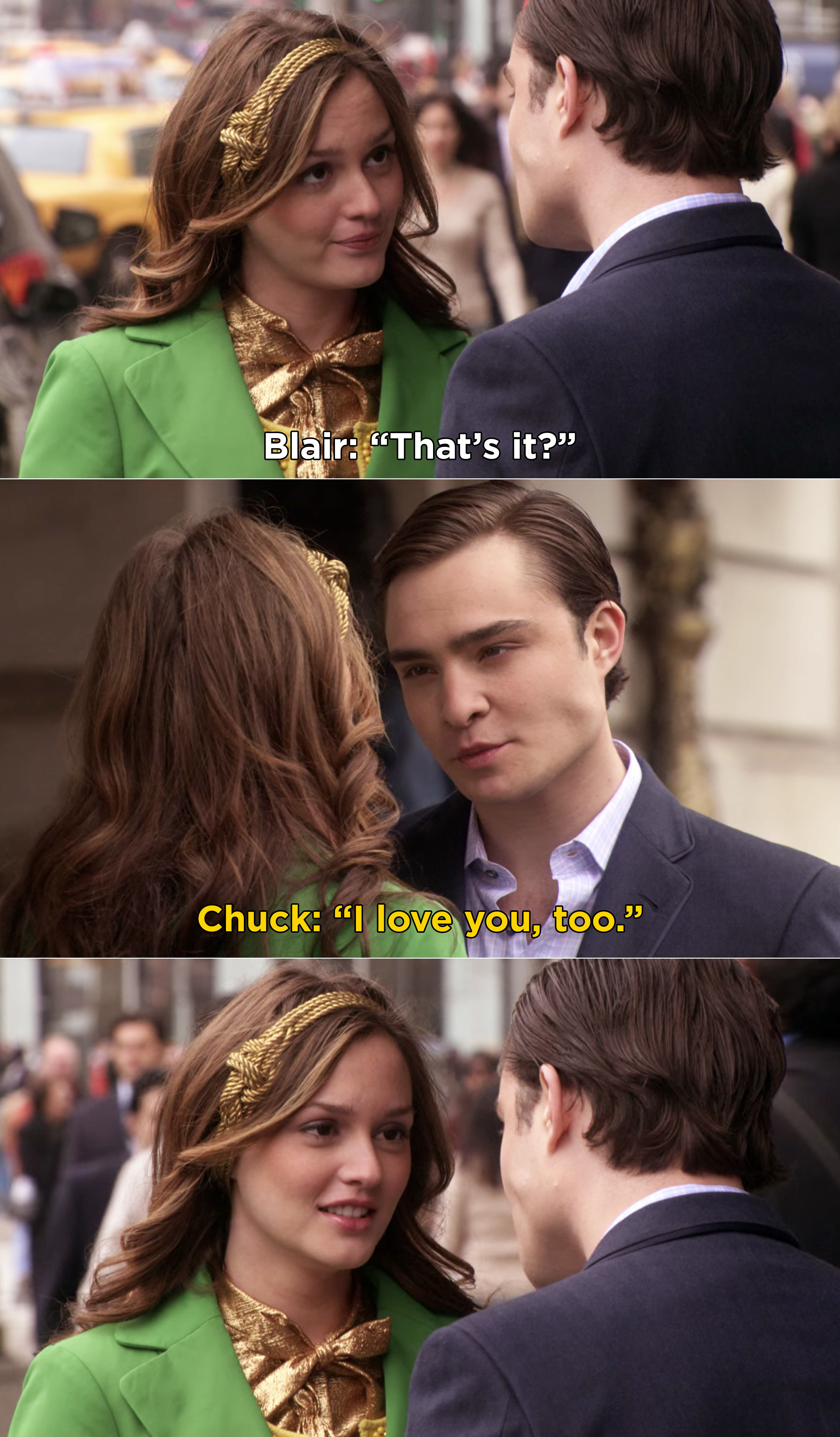 """Blair saying, """"That's it?"""" and Chuck replying """"I love you, too"""""""