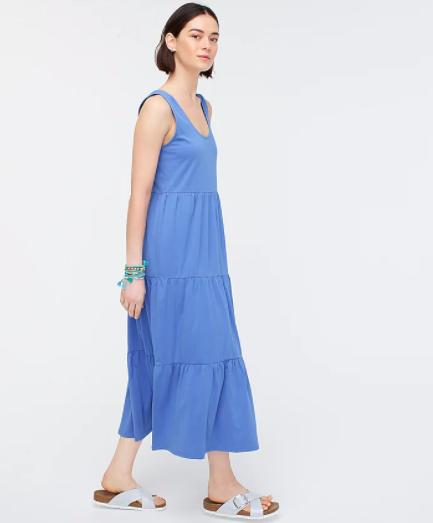 J.Crew tiered Maxi Dress in brilliant peri colorway