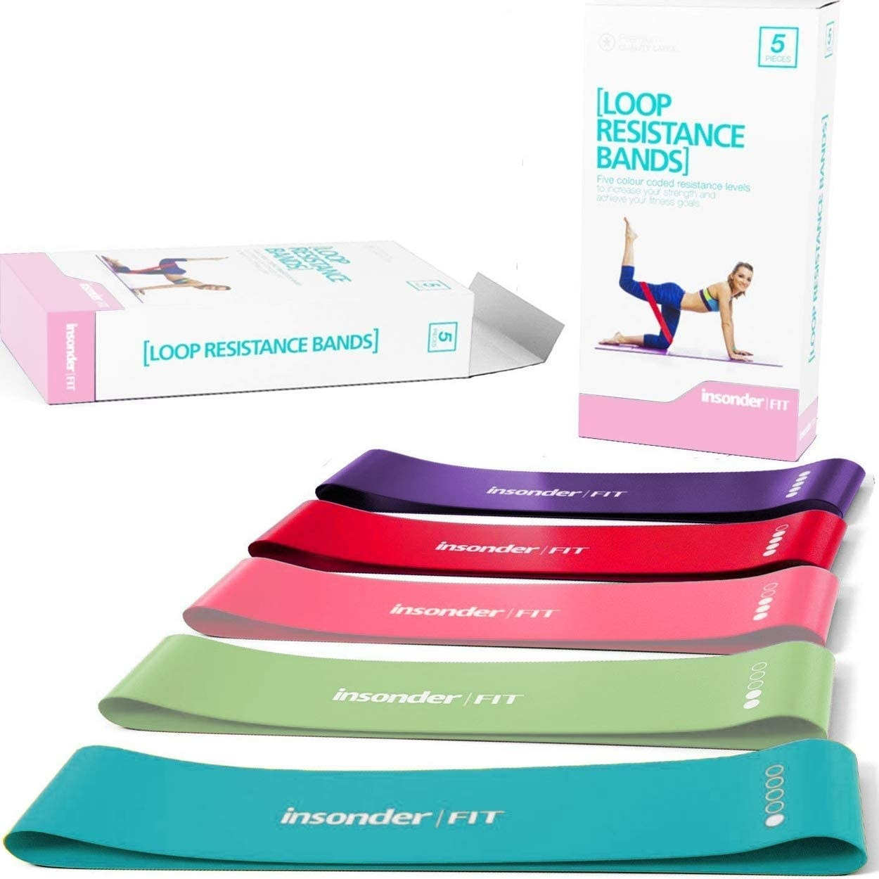 A set of resistance bands in blue, green, pink, red, and purple