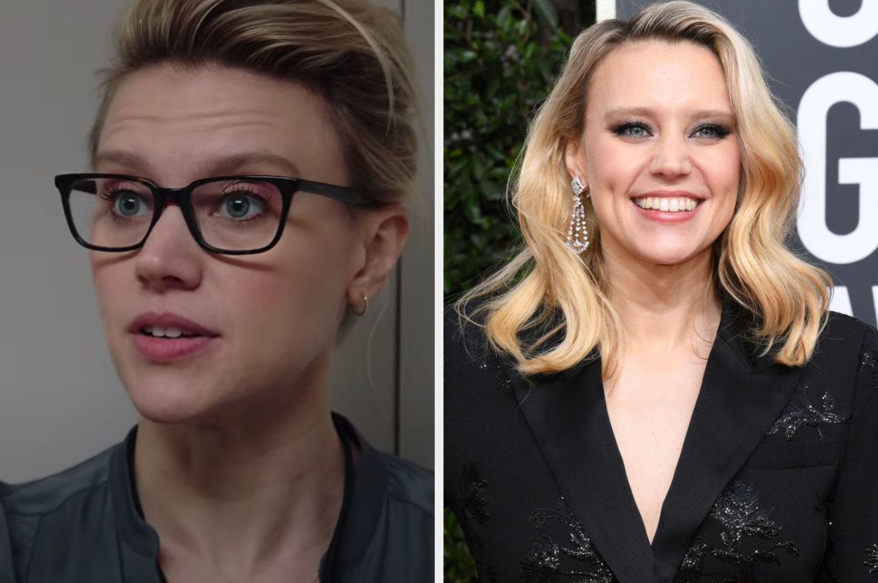 Side by side of Jess Carr from Bombshell and Kate McKinnon