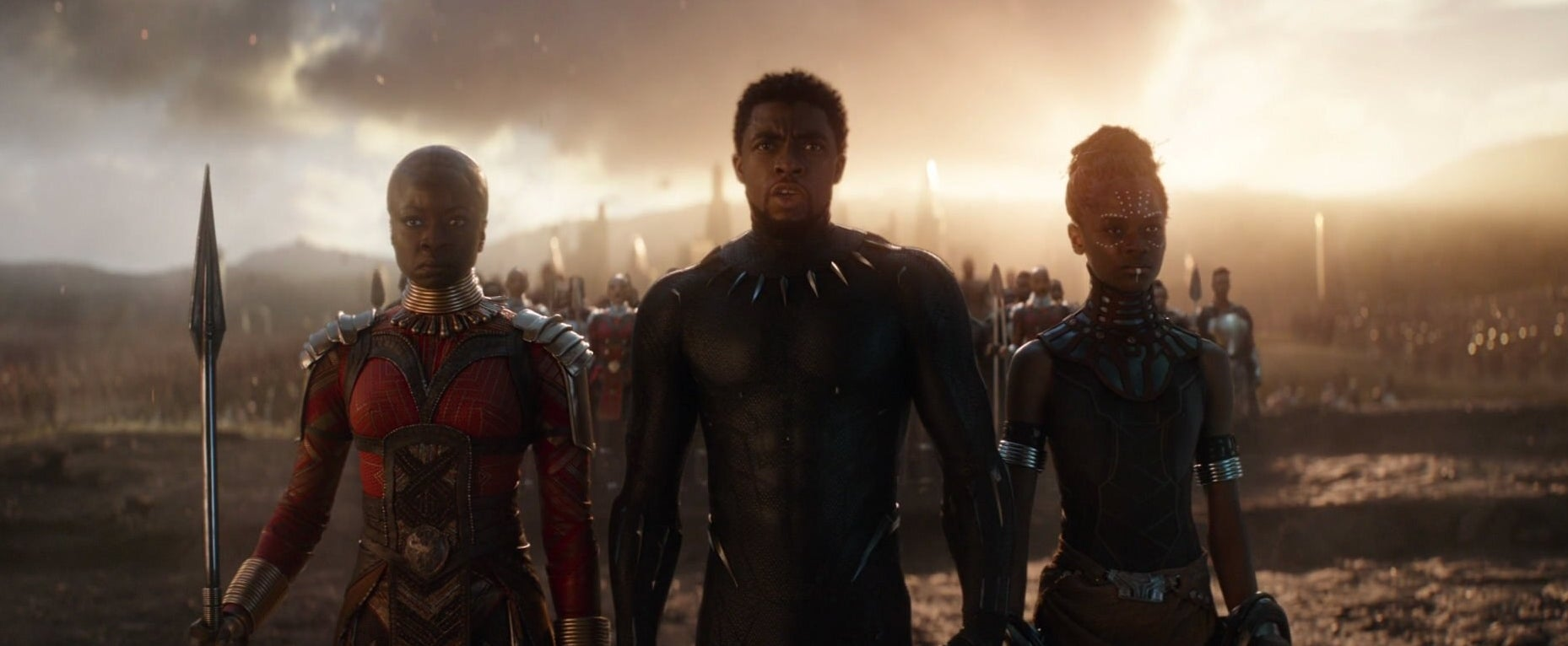 "Okoye, T'Challa, and Shuri returning during the ""Avengers, Assemble"" scene in Endgame."