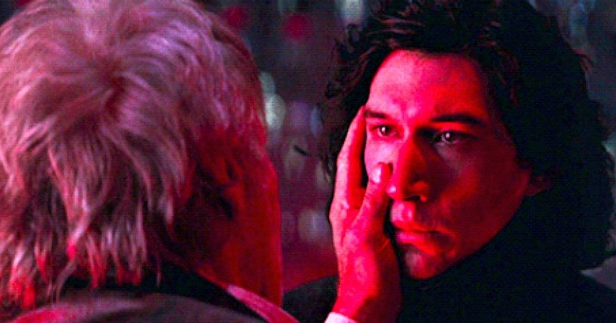 Han Solo touches Kylo Ren's face in The Force Awakens.