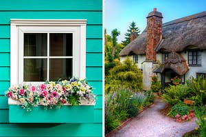 A windowsill with a box full of flowers next to a quaint cottage