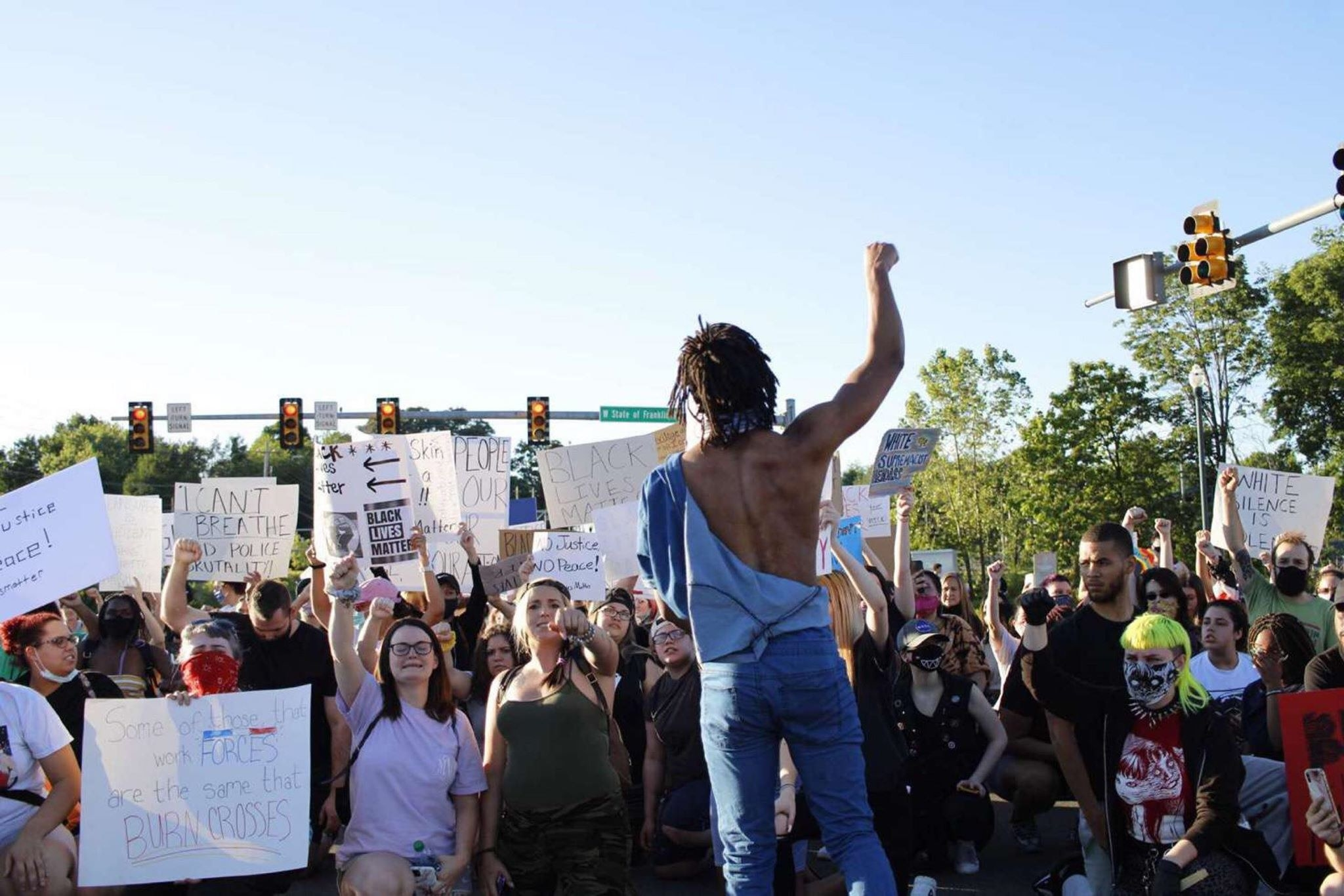 Brown protesting earlier this month in Johnson City, Tenn.