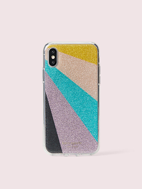 an iphone case with a diagonal patter across it in five sections of black, purple, teal, blush, and yellow glitter