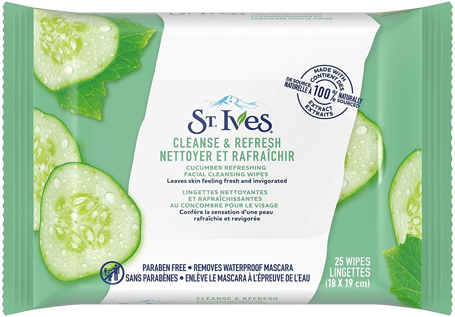 A pack of facial wipes with cucumbers on it