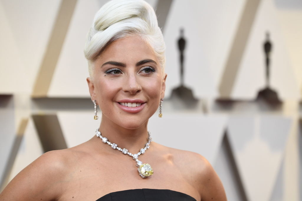 Lady Gaga posing at the Oscars