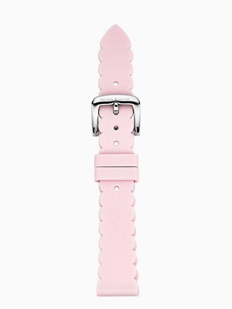 the silicone, pink watch strap with scallop edges