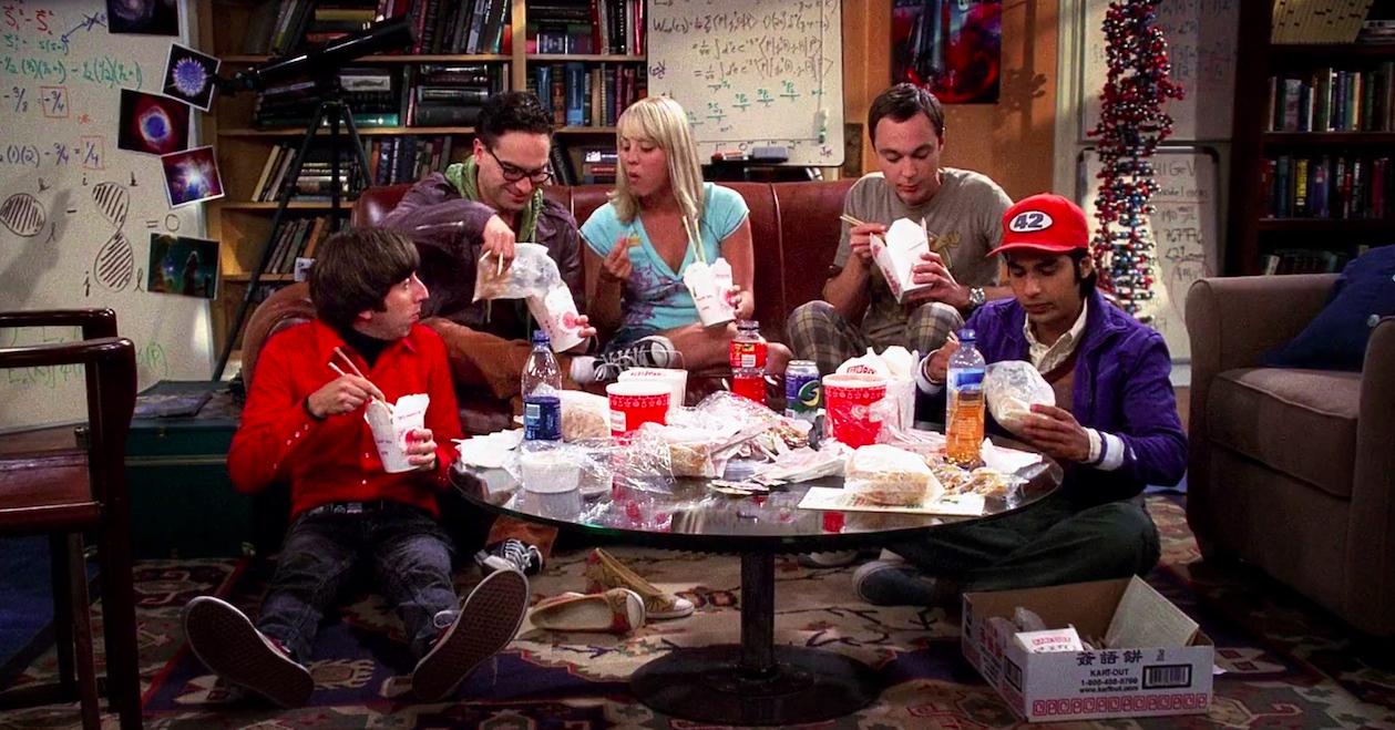 Screenshot of Howard, Leonard, Penny, Sheldon, and Raj