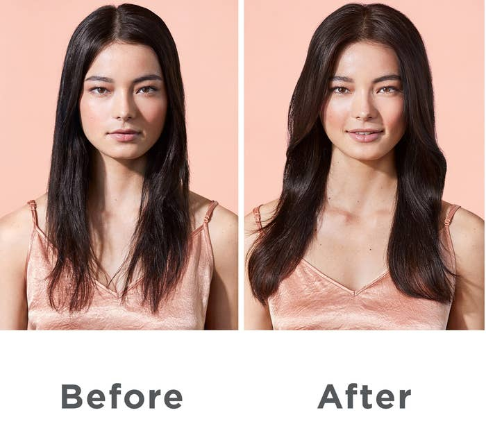 """Before"" photo of a model with flat, dry hair and ""after"" photo of the same model with shiny, voluminous waves after applying the product"