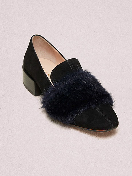 one of the loafers in black suede with a slight chunky heel and faux fur across the middle