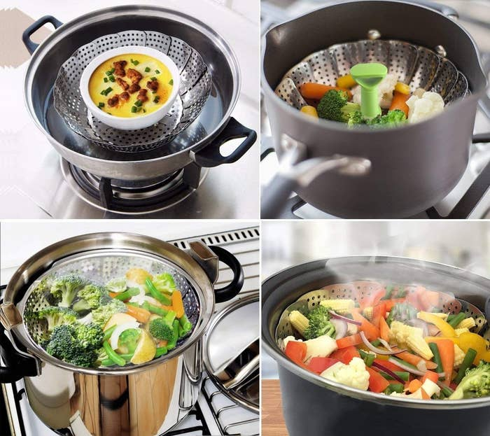 A collage of the steaming basket inside pans and pots, steaming vegetables and other food.