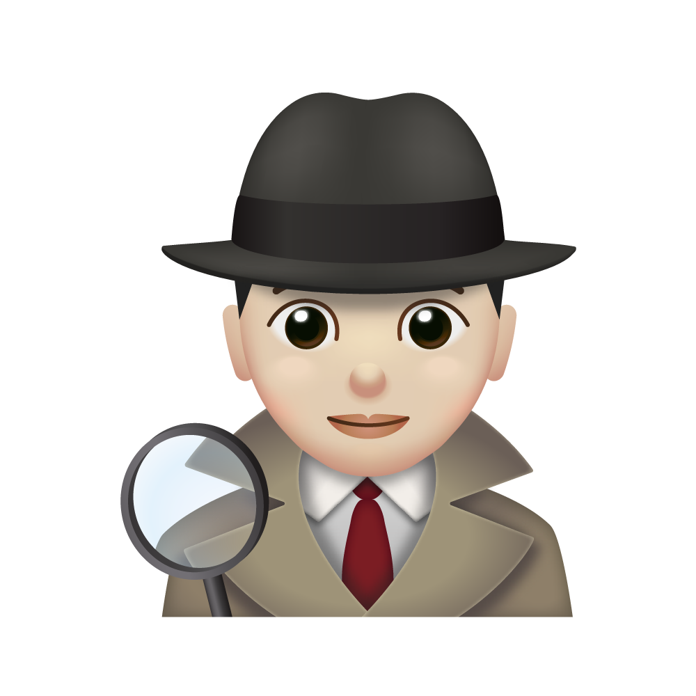 Detective emoji person holding a magnifying glass, shown from the shoulders up