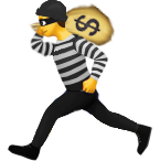 Apple emoji man dressed as a robber, running with a money bag