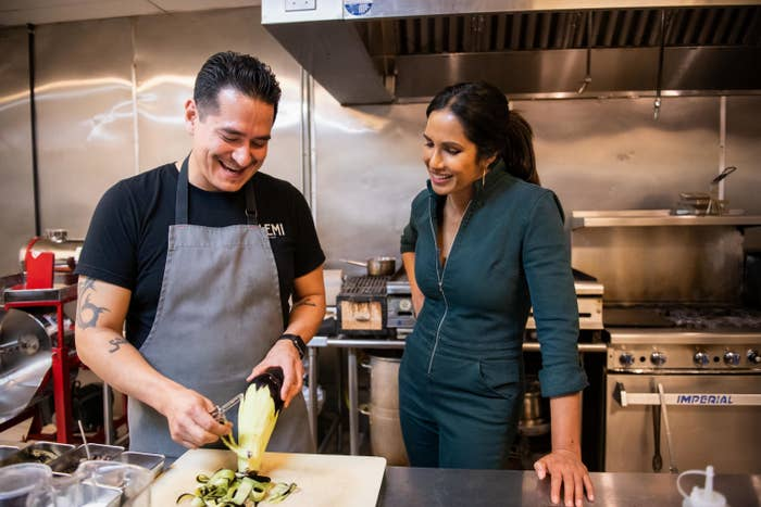 Emiliano Marentes and Padma Lakshmi in Taste the Nation.