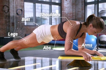 A shot from the side showing a person planking while playing the game, with graphics that show their shoulders, butt, legs, abs and arms are all getting a workout