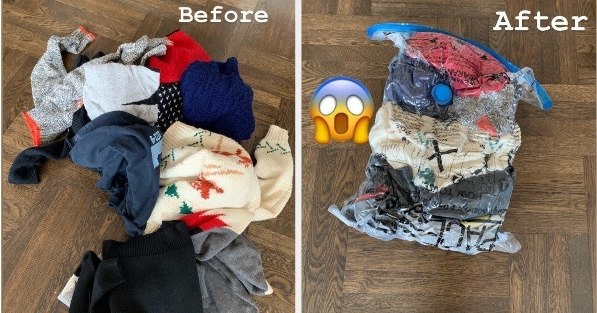 A before-and-after photo of a bunch of loose clothes and those clothes compacted into a vacuum sealed bag