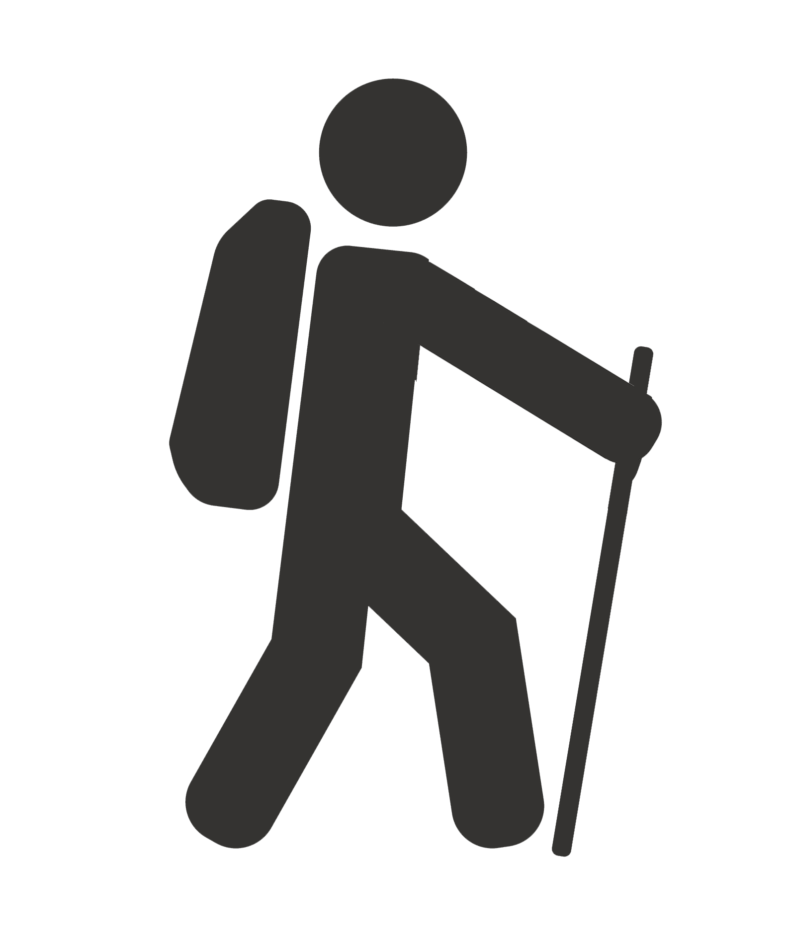 Stick figure of a hiker wearing a backpack and using a walking stick.