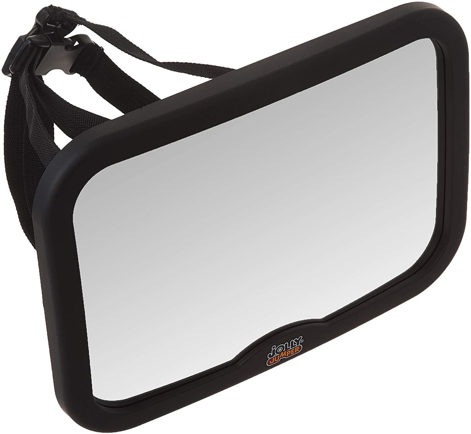 A rectangular mirror in a thick plastic frame with straps attached to the back
