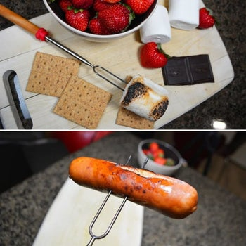 two pronged sticks with wooden handle spears marshmallow and hotdog