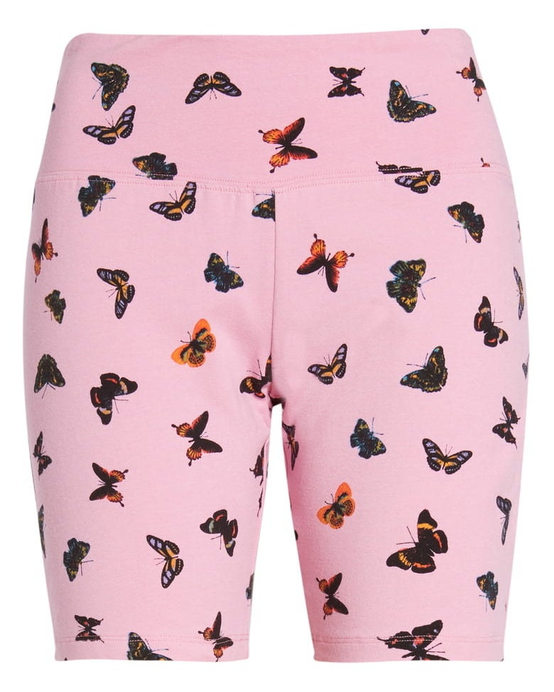 light pink bike shorts with a butterfly print