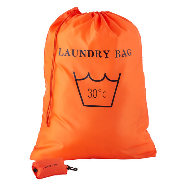A bright colored laundry bag full of clothes and also emptied and folded up in its own storage bag