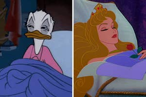"On the left, Donald Duck sits in his bed with a blanket over him looking sleepy, and on the right, Aurora from ""Sleeping Beauty"" is asleep in her bed"