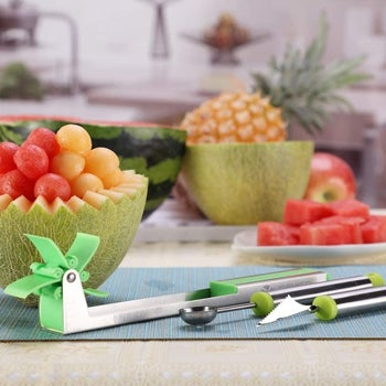 The watermelon cuber with a melon baller and slicer