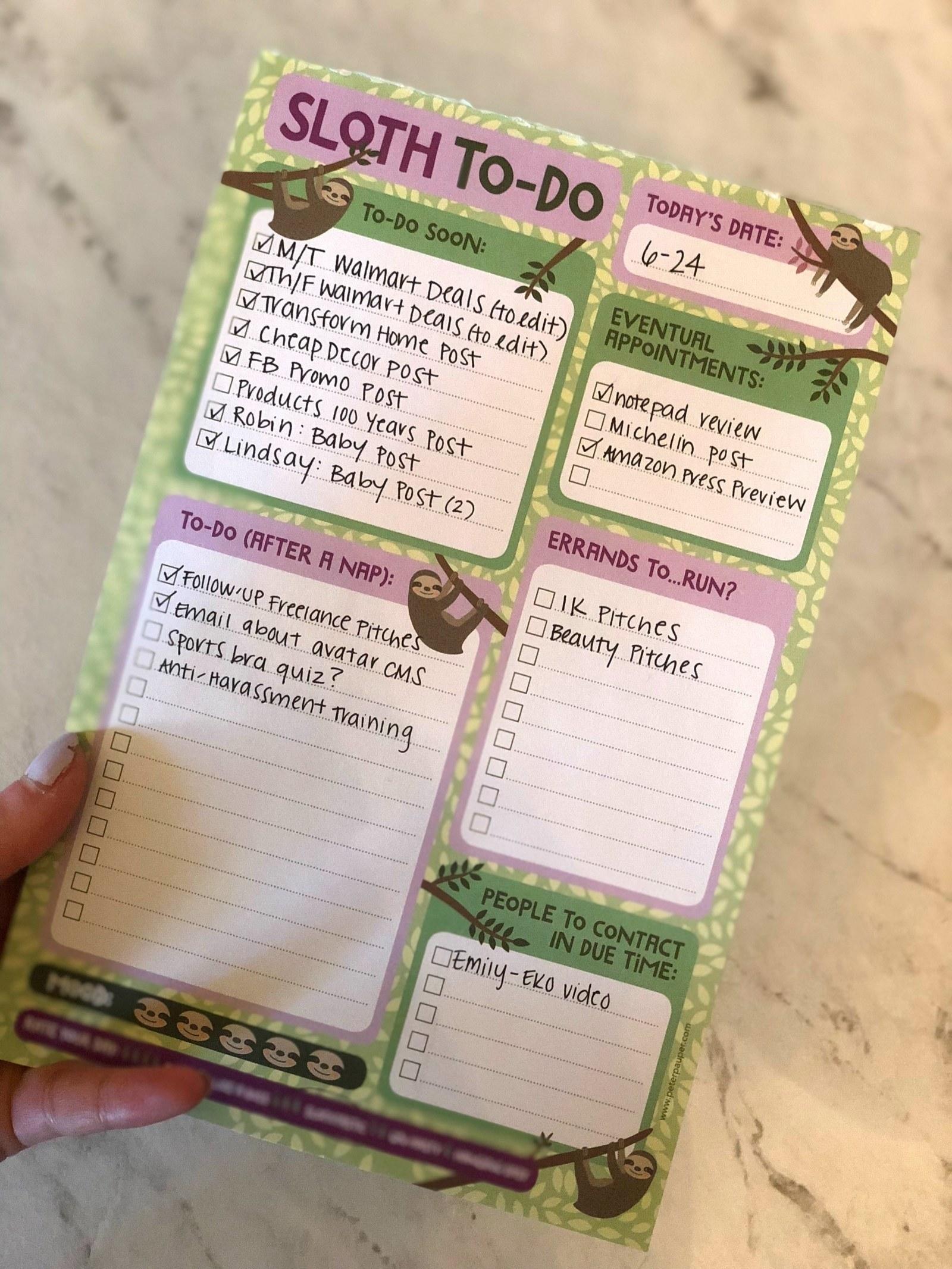 BuzzFeed Editor Emma McAnaw holding sloth checklist