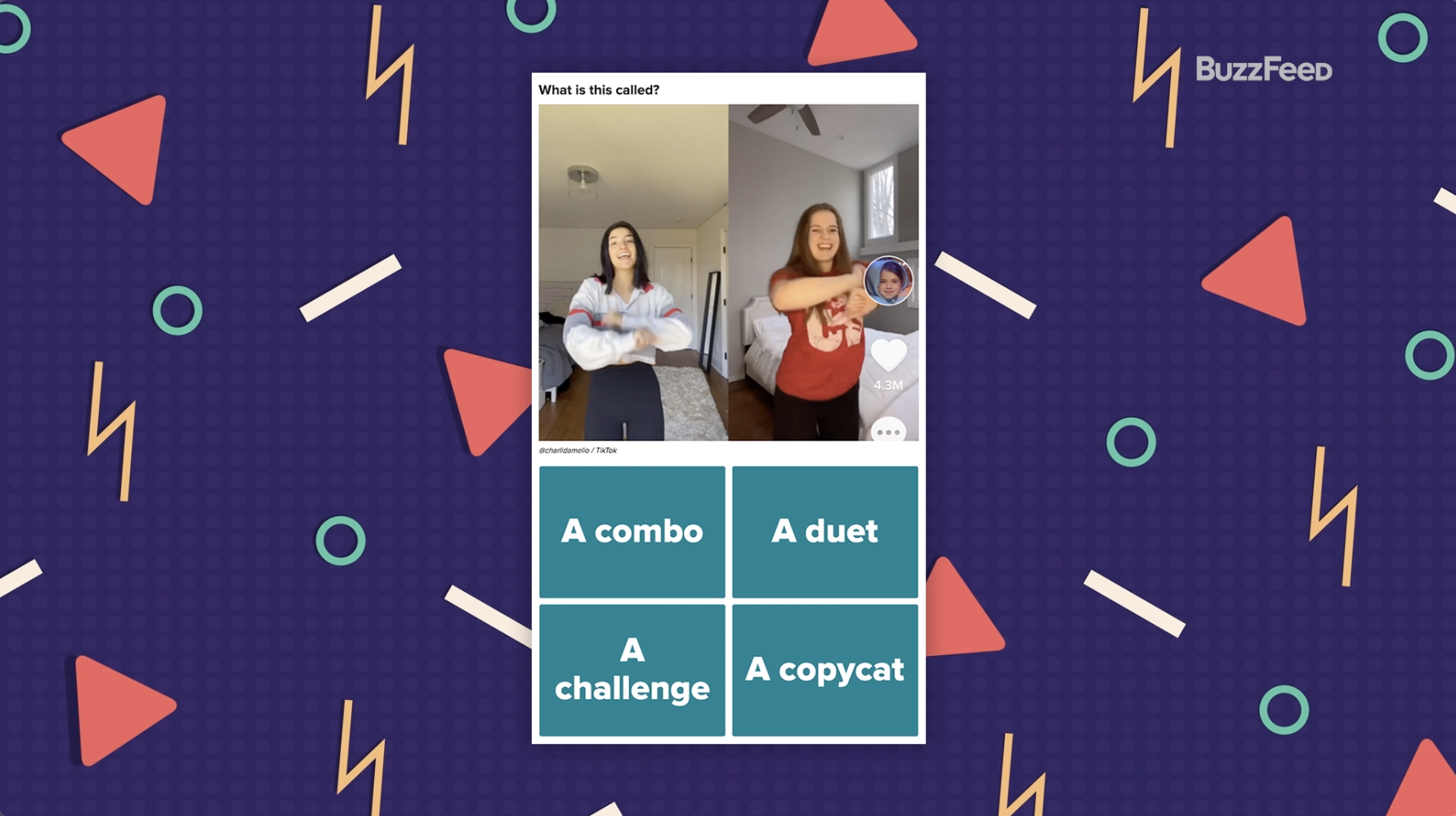 First question from TikTok slang quiz with a picture of two TikToks next to each other.