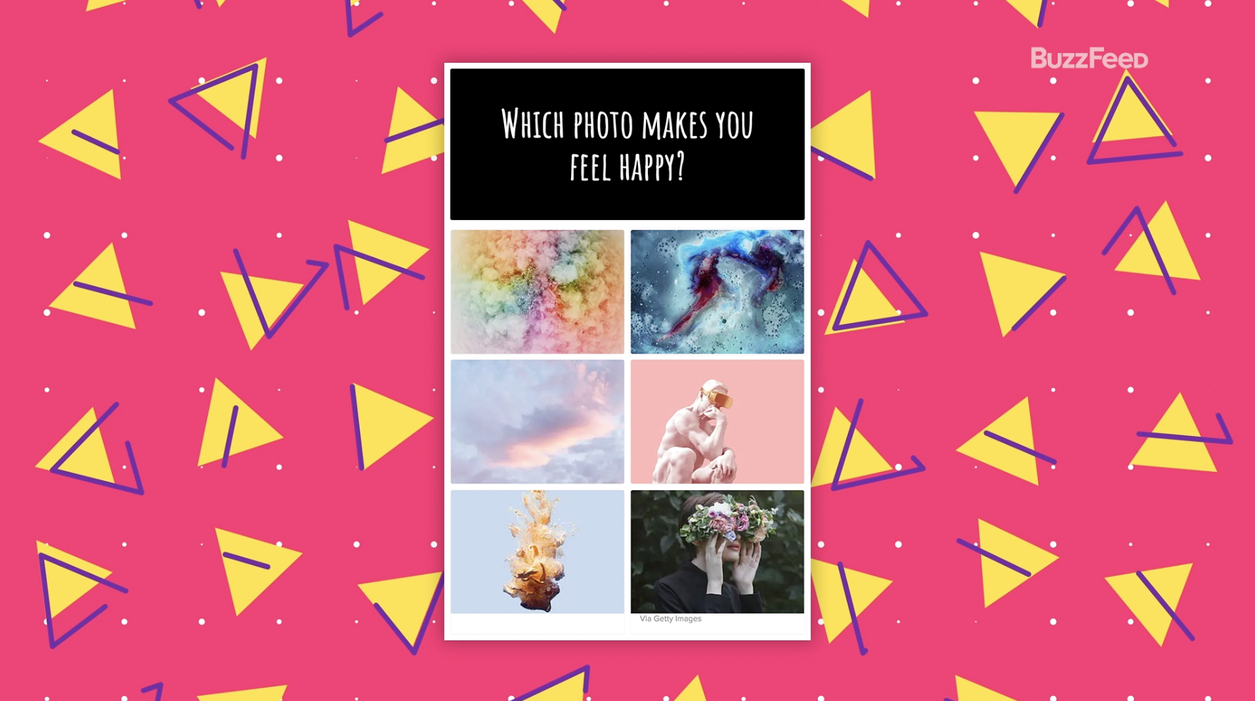"""First question from the aesthetics quiz, """"Which photo makes you feel happy?"""""""