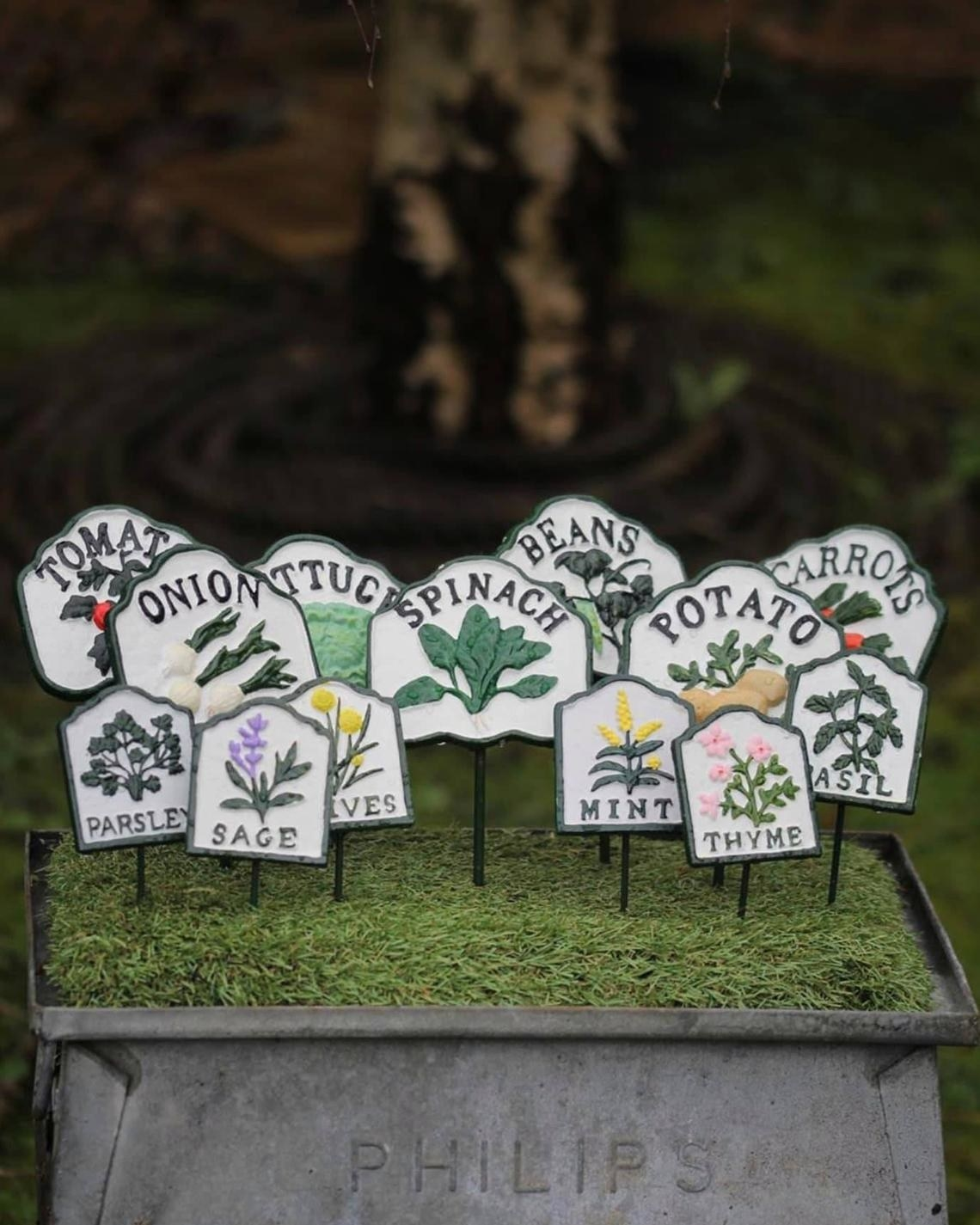 enamel-style plant stakes with names and illustrations