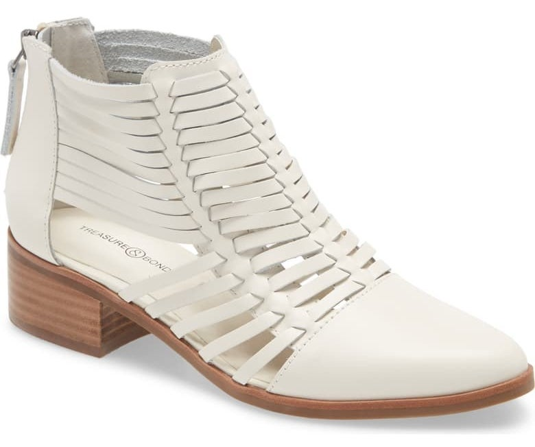 a white ankle boot with stacked woodlike heel, white open weaving