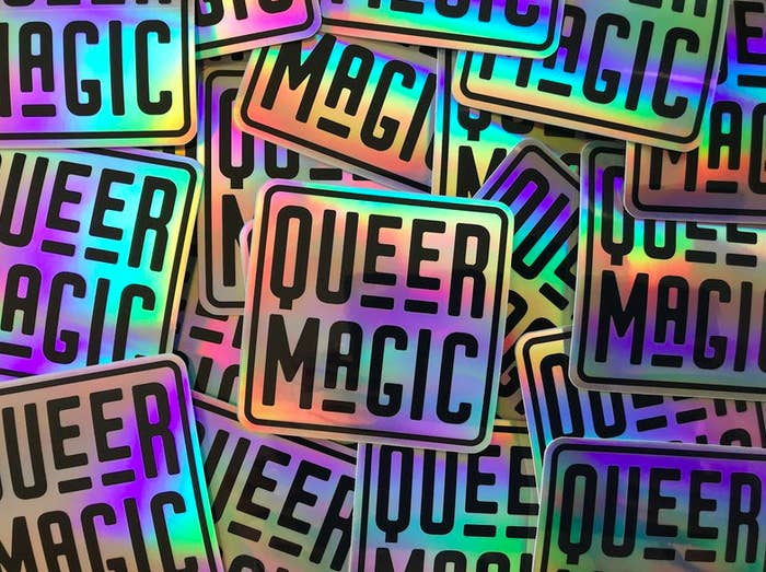 "Holographic stickers that say ""Queer Magic"""