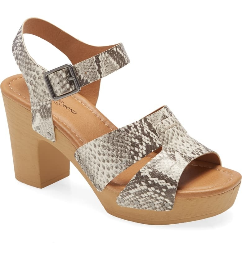 chunk platform wood-look sandal with block heel, snakeskin print straps with buckle ankle srap