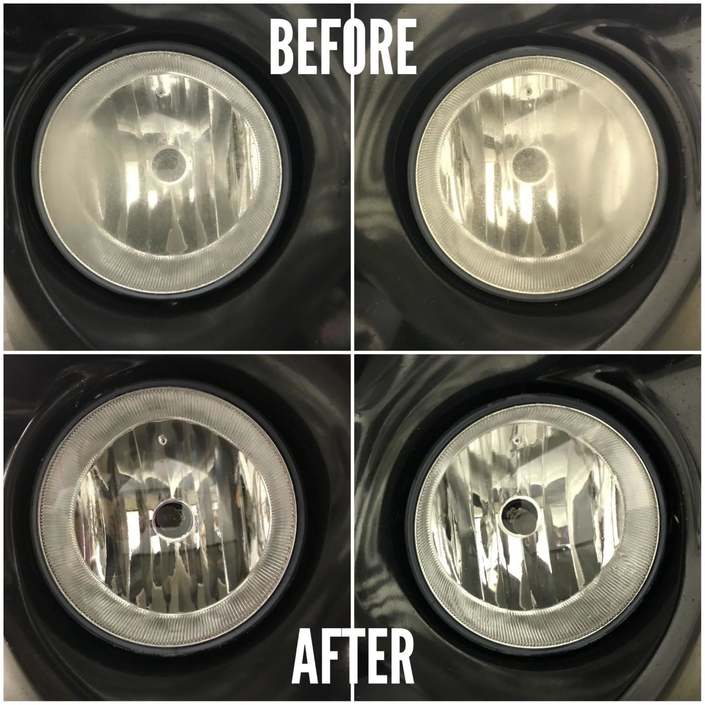 Close-ups showing once-dirty headlights looking cleaner