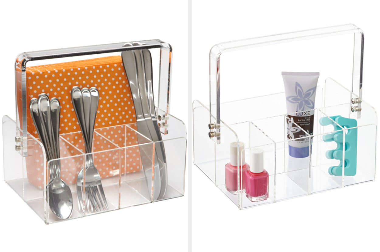 A side by side of the same clear tote, one filled with utensils and napkins, the other filled with makeup accessories