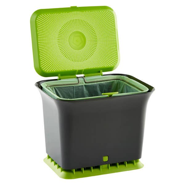 A gray plastic compost bin with lime green accents and an opened lid