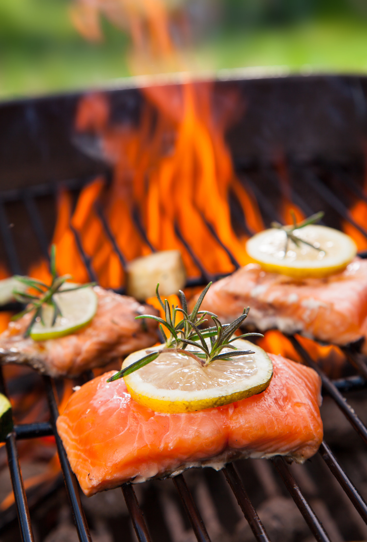 Three salon fillets with lemon and rosemary on a lit barbecue.