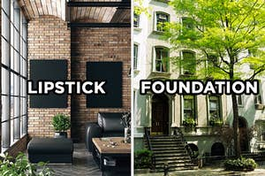 """On the left, a modern living room in an apartment with an exposed brick wall and a large window with """"lipstick"""" typed on top of it, and on the right, the exterior of a New York City apartment building on a shady street lined with trees"""