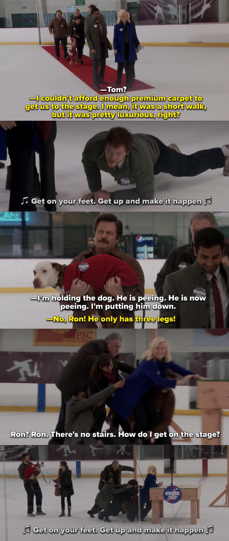 Everyone falling on the ice