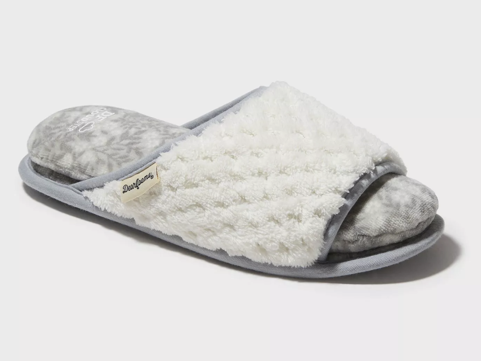 A white and gray open-toe slipper made entirely of cloth.