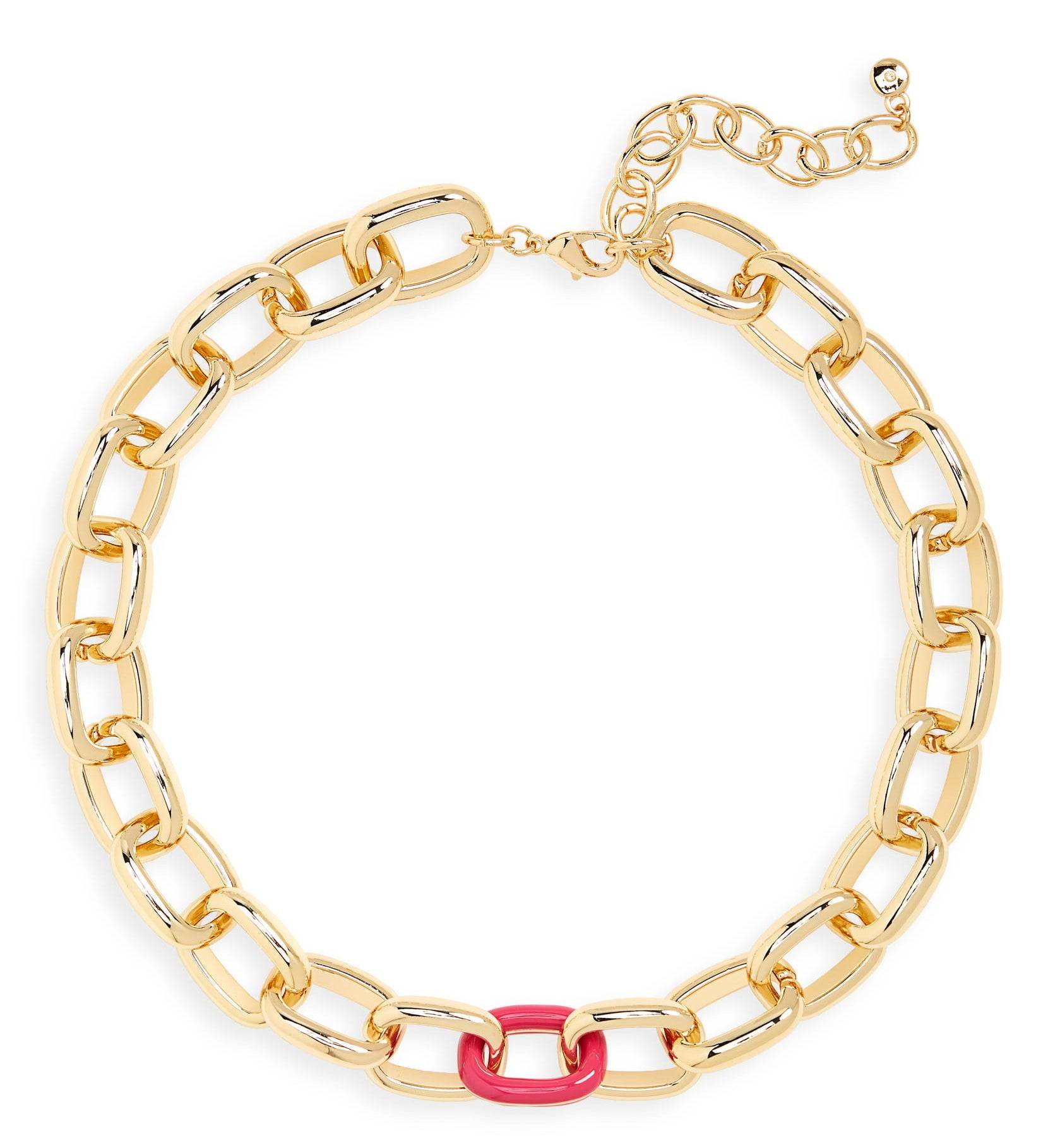 collar style necklace of gold tone large chains with one bright pink chain in the front middle