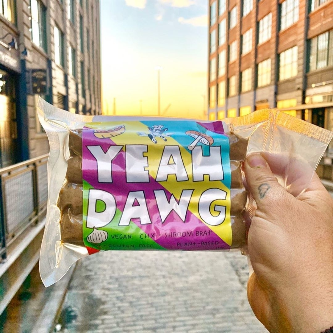 Hand holding a package of the vegan hot dogs