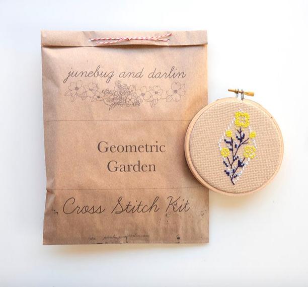 Junebug and Darlin flower cross-stitch kit