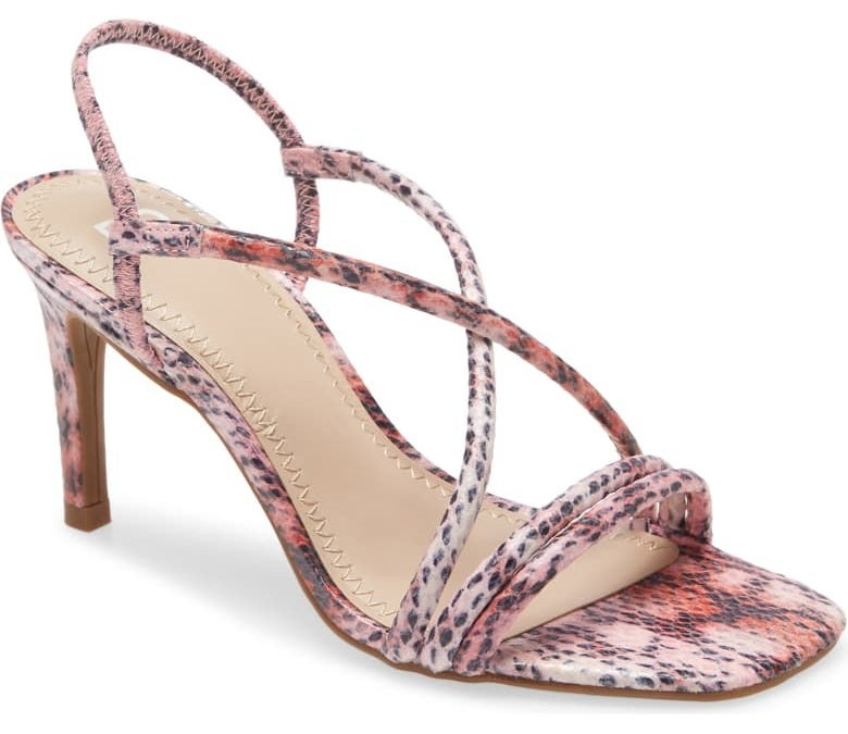 strappy sandals with a pink snake print with slingback straps and mid-height heel