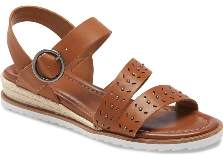 slingback leather look sandals with buckle at ankle, beaded details on straps, espadrille inspired slight wedge